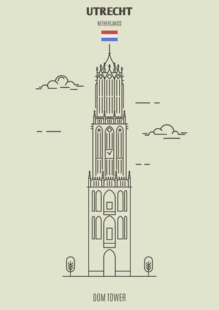 Domturm in Utrecht, Niederlande. Wahrzeichen im linearen Stil