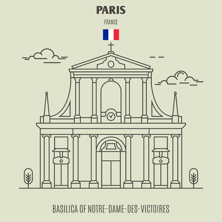 Basilica of Notre-Dame-des-Victoires in Paris, France. Landmark icon in linear style Illustration