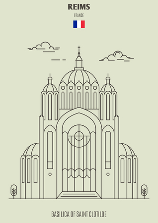 Basilica of Saint Clotilde in Reims, France. Landmark icon in linear style