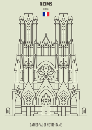 Cathedral of Notre-Dame of Reims, France. Landmark icon in linear style Illustration