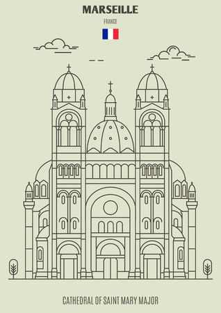 Cathedral of Saint Mary Major in Marseille , France. Landmark icon in linear style