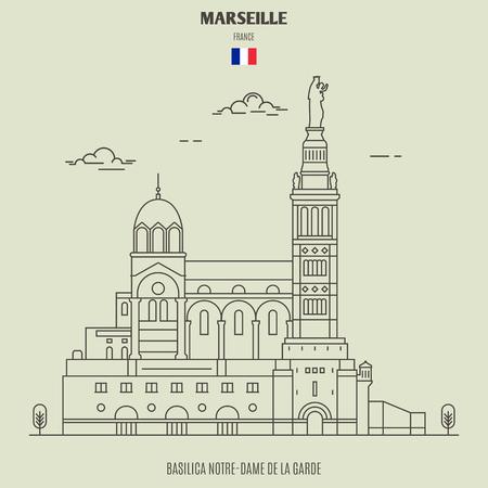 Basilica Notre-Dame de la Garde in Marseille , France. Landmark icon in linear style