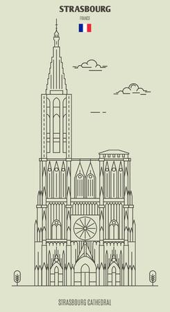 Straßburger Münster, Frankreich. Wahrzeichen im linearen Stil