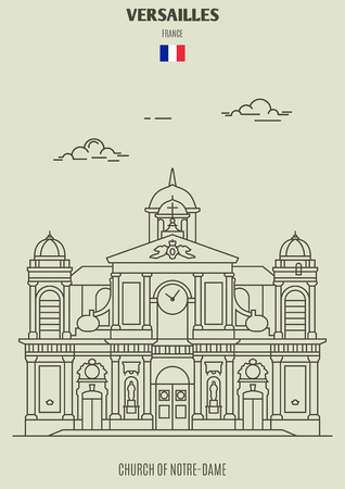 Church of Notre-Dame in Versailles, France. Landmark icon in linear style Illustration
