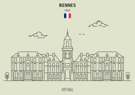 City Hall in Rennes, France. Landmark icon in linear style