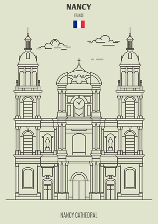 Nancy Cathedral in Nancy, France. Landmark icon in linear style