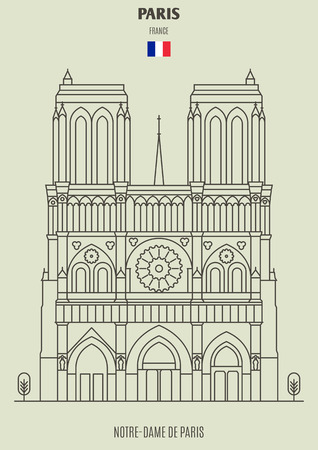 Notre-Dame de Paris, France. Landmark icon in linear style