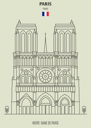 Notre-Dame de Paris, France. Landmark icon in linear style