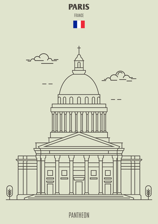 Pantheon in Paris, France. Landmark icon in linear style