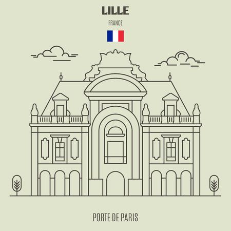 Porte de Paris in Lille, France. Landmark icon in linear style 向量圖像