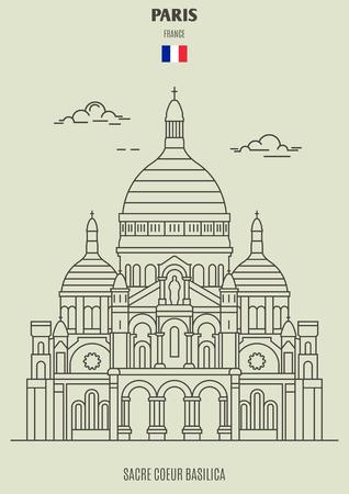 Sacre Coeur Basilica in Paris, France. Landmark icon in linear style