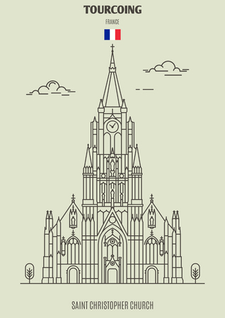 Saint Christopher church in Tourcoing, France. Landmark icon in linear style
