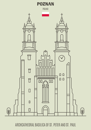 Archcathedral Basilica of St. Peter and St. Paul in Poznan, Poland. Landmark icon in linear style Illustration