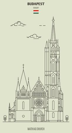 Matthias Church in Budapest, Hungary. Landmark icon in linear style