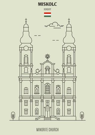 Minorite Church in Miskolc, Hungary. Landmark icon in linear style Illustration