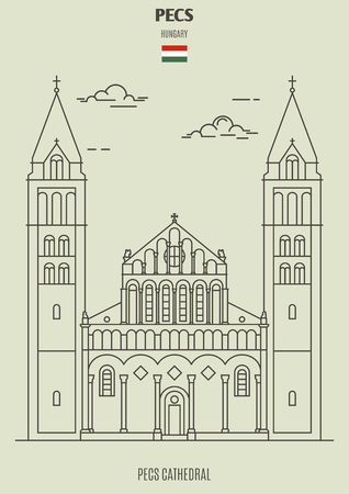 Pecs Cathedral in Pecs, Hungary. Landmark icon in linear style