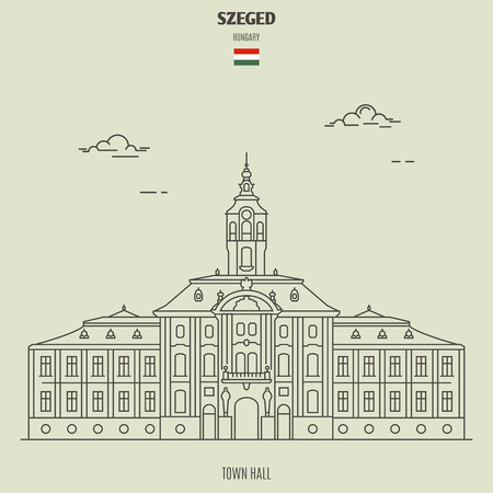 Town hall in Szeged, Hungary. Landmark icon in linear style