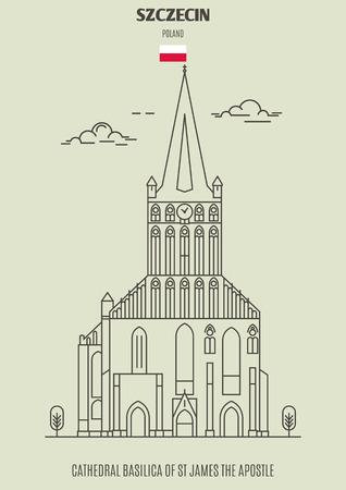 Catedral Basílica de Santiago Apóstol en Szczecin, Polonia. Icono de hito en estilo lineal
