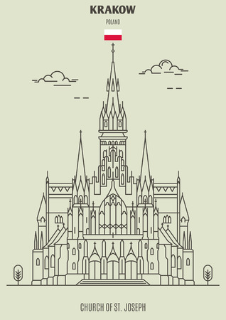 Church of St. Joseph in Krakow, Poland. Landmark icon in linear style Illustration