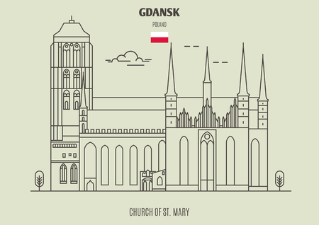 Church of St. Mary in Gdansk, Poland. Landmark icon in linear style