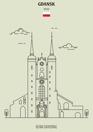 Oliwa Cathedral in Gdansk, Poland. Landmark icon in linear style Illustration