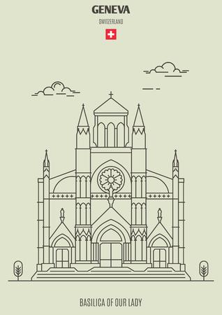 Basílica de Nuestra Señora de Ginebra, Suiza. Icono de hito en estilo lineal