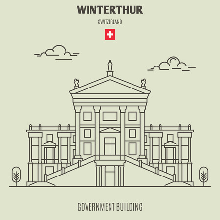 Government Buildingin in Winterthur, Switzerland. Landmark icon in linear style