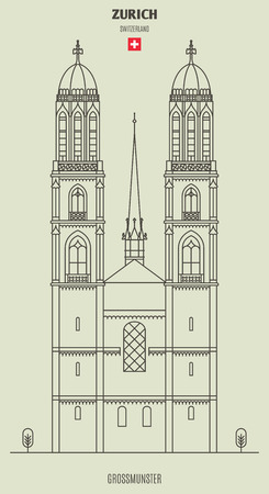 Grossmunster church in Zurich, Switzerland. Landmark icon in linear style