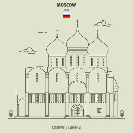 Assumption Cathedral in Moscow, Russia. Landmark icon in linear style