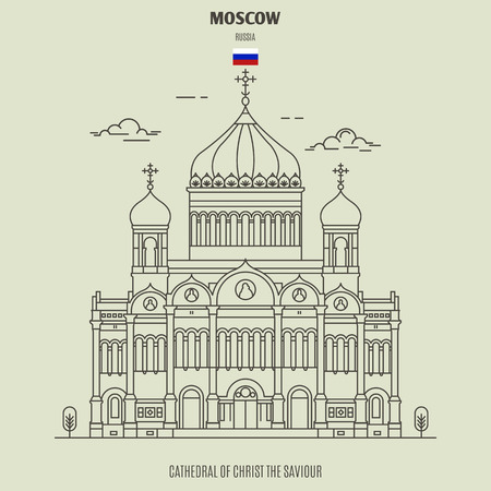 Cathedral of Christ the Saviour in Moscow, Russia. Landmark icon in linear style