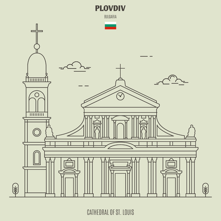 Cathedral of St. Louis in Plovdiv, Bulgaria. Landmark icon in linear style