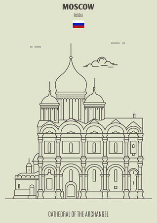 Cathedral of the Archangel in Moscow, Russia. Landmark icon in linear style
