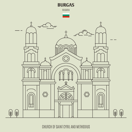 Church of Saint Cyril and Methodius in Burgas, Bulgaria. Landmark icon in linear style Çizim