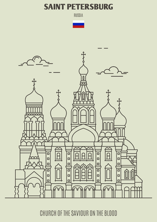 Church of the Saviour on the Blood in Saint Petersburg, Russia. Landmark icon in linear style