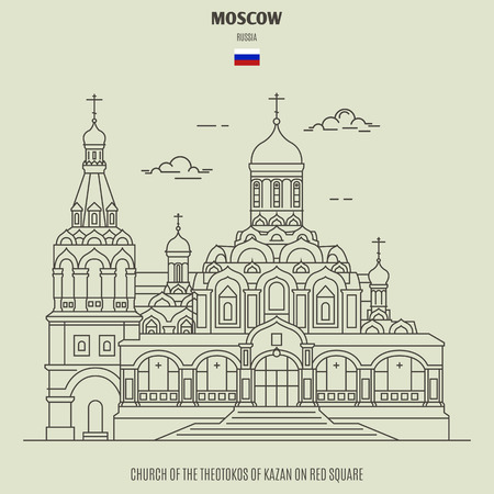 Church of the Theotokos of Kazan on Red Square in Moscow, Russia. Landmark icon in linear style Imagens - 122394527