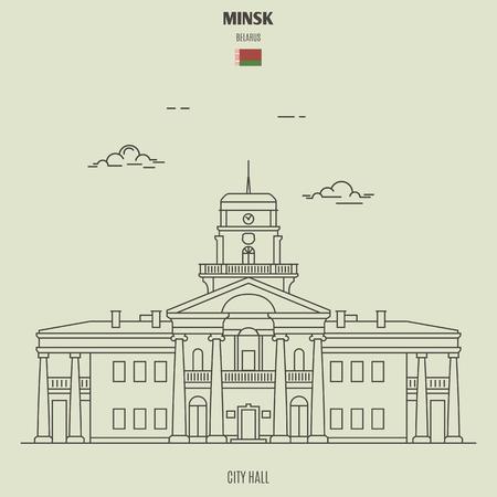 City Hall in Minsk, Belarus. Landmark icon in linear style 向量圖像