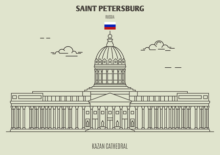 Kazan Cathedral in Saint Petersburg, Russia. Landmark icon in linear style