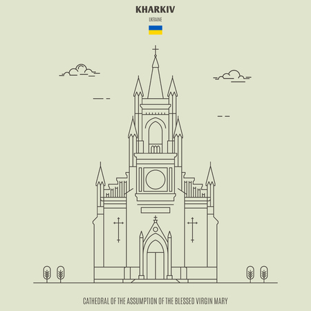 Cathedral of the Assumption of the Blessed Virgin Mary in Kharkiv, Ukraine. Landmark icon in linear style Illustration
