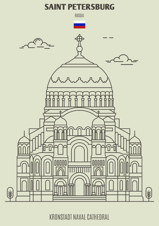 Kronstadt Naval Cathedral in Saint Petersburg, Russia. Landmark icon in linear style