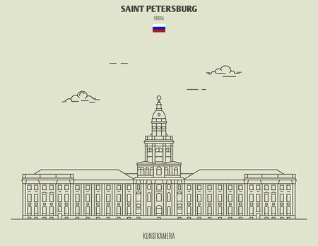 Kunstkamera in Saint Petersburg, Russia. Landmark icon in linear style