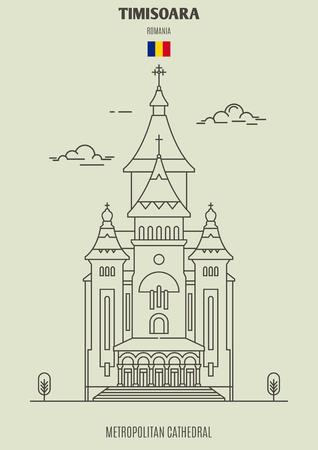 Metropolitan Cathedral in Timisoara, Romania. Landmark icon in linear style