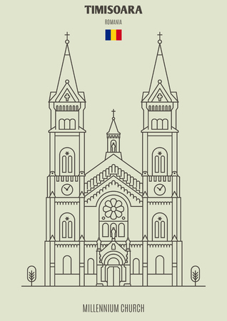 Millennium Church in Timisoara, Romania. Landmark icon in linear style