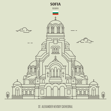 St. Alexander Nevsky Cathedral in Sofia, Bulgaria. Landmark icon in linear style  イラスト・ベクター素材