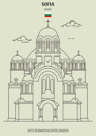 Sveti Sedmochislenitsi Church in Sofia, Bulgaria. Landmark icon in linear style