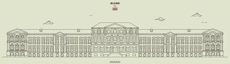 Jelgava Palace in Jelgava, Latvia. Landmark icon in linear style Illustration