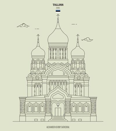 Alexander Nevsky Cathedral in Tallinn, Estonia. Landmark icon in linear style  イラスト・ベクター素材