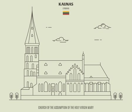 Church of the Assumption of The Holy Virgin Mary in Kaunas, Lithuania. Landmark icon in linear style