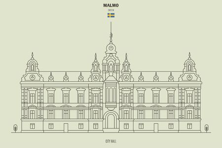 City Hall in Malmo, Sweden. Landmark icon in linear style Illustration