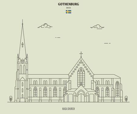 Haga Church in Gothenburg, Sweden. Landmark icon in linear style