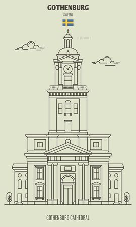 Cathedral in Gothenburg, Sweden. Landmark icon in linear style